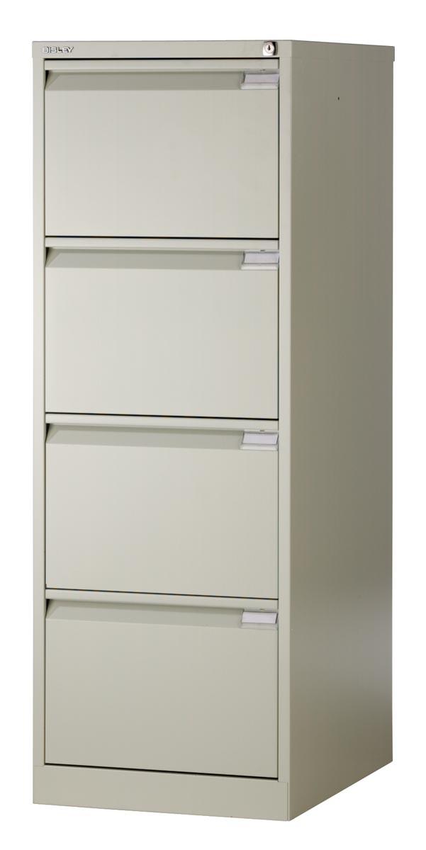 Bisley hangmappenkast, ft 132,1 x 47 x 62,2 cm (h x b x d), 4 laden, grijs