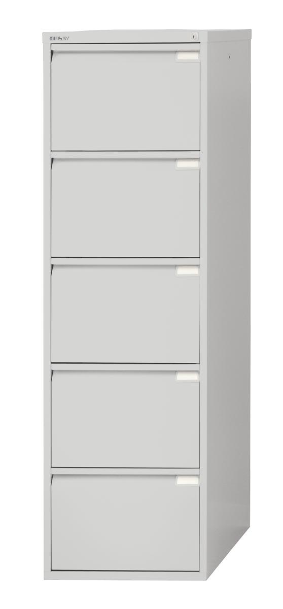 Afbeelding van Bisley hangmappenkast, ft 151 x 47 x 62,2 cm (h x b x d), 5 laden, grijs