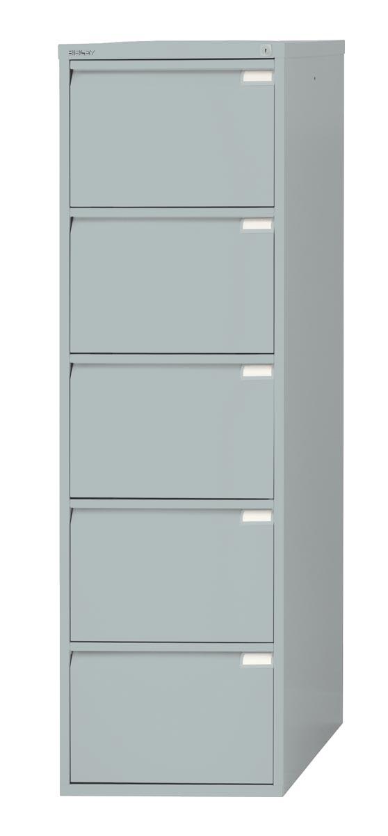 Afbeelding van Bisley hangmappenkast, ft 151 x 47 x 62,2 cm (h x b x d), 5 laden, zilverkleurig