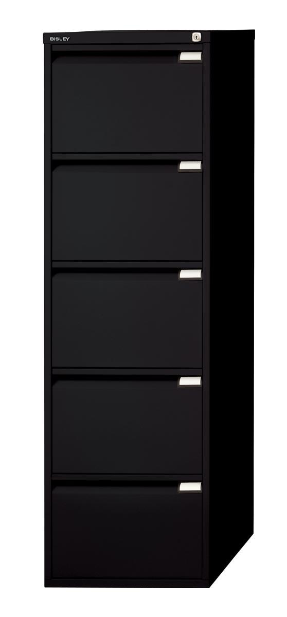 Afbeelding van Bisley hangmappenkast, ft 151 x 47 x 62,2 cm (h x b x d), 5 laden, zwart