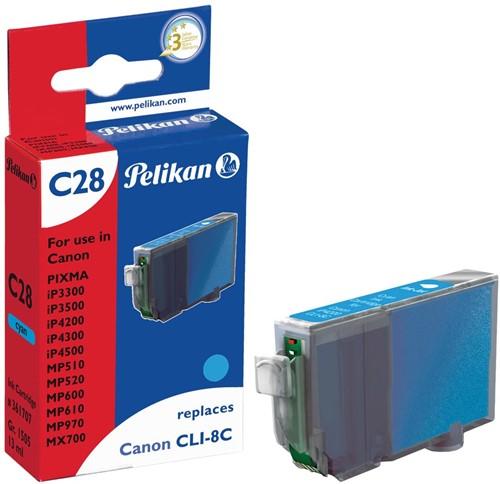 Pelikan inktcartridge cyaan, 490 pagina's voor Canon CLI-8C - OEM: 0621B001