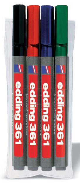 Edding whiteboardmarker e-361 etui 4 stuks in geassorteerde kleuren