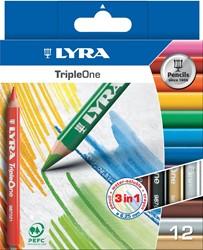 Lyra TripleOne kleurpotloden, kartonnen etui met 12 stuks in geassorteerde kleuren