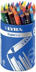 Lyra TripleOne kleurpotloden, pot met 36 stuks in geassorteerde kleuren