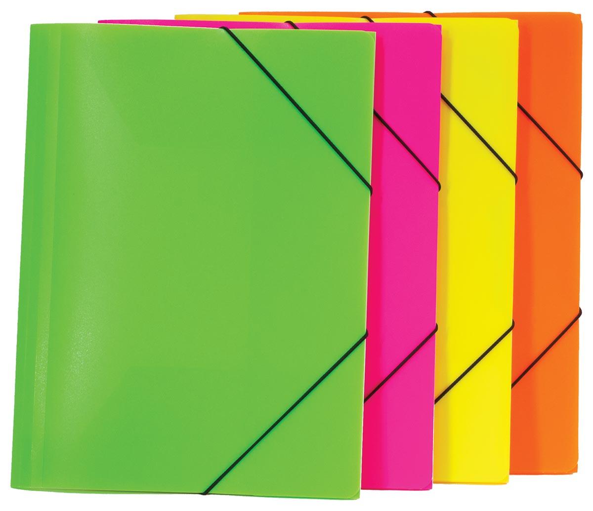 Bronyl elastomap, ft A4, geassorteerde fluo kleuren
