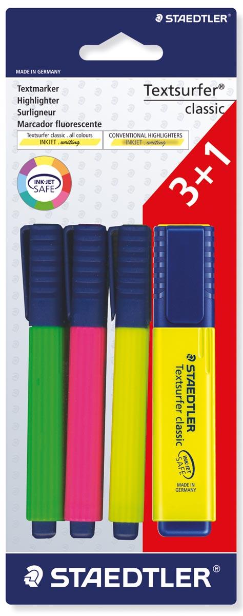 Staedtler Markeerstift Textsurfer Classic blister met 4 stuks: 1 x groen, 1 x roze, 1 x geel en 1 x