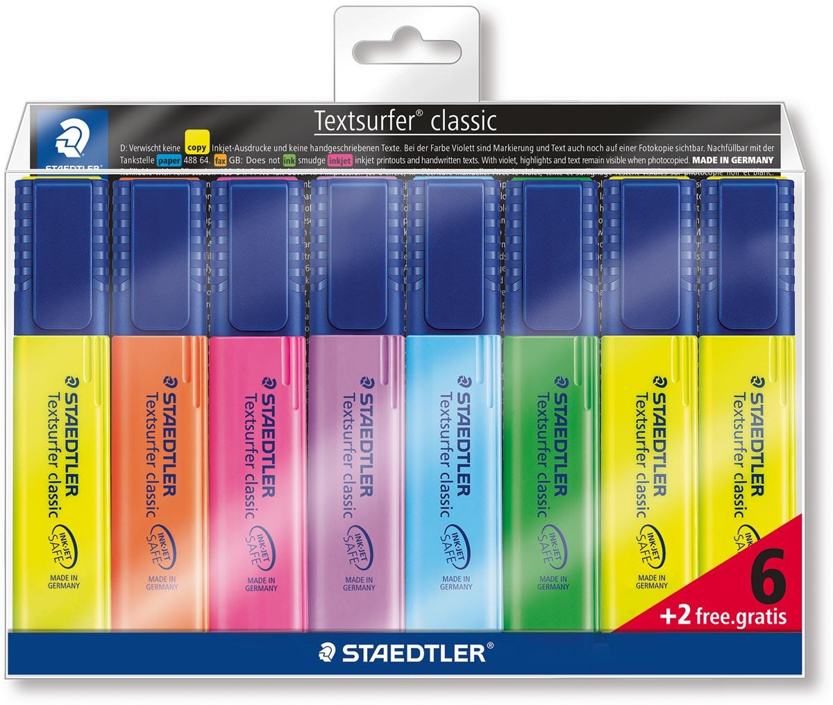Staedtler Markeerstift Textsurfer Classic etui van 8 stuks: geel, oranje, roze, paars, blauw, groen