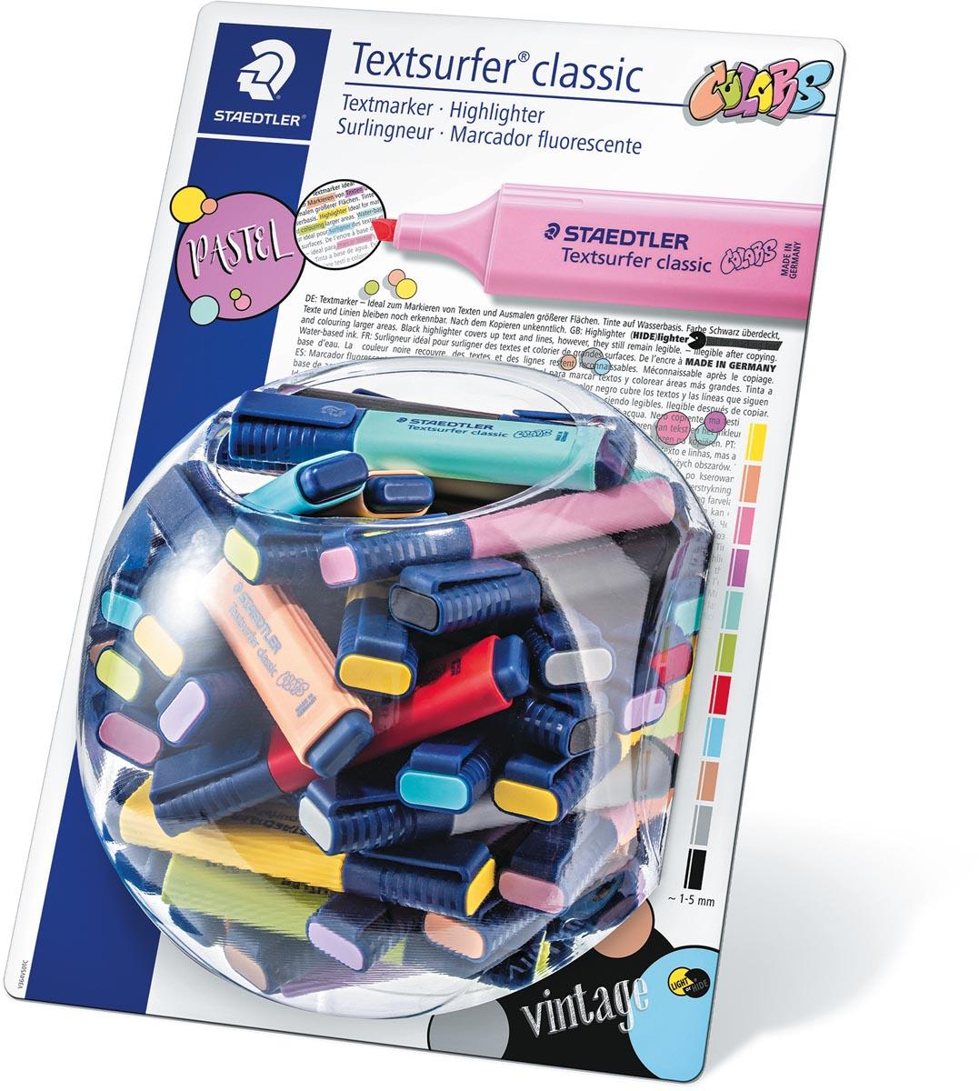 Staedtler Markeerstift Textsurfer Classic, vintage & pastel kleuren, display van 100 stuks