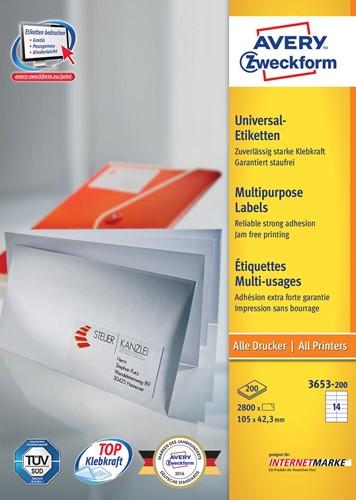 Avery Zweckform 3653, Universele etiketten, Ultragrip, wit, 200 vellen, 14 per vel, 105 x 42,3 mm