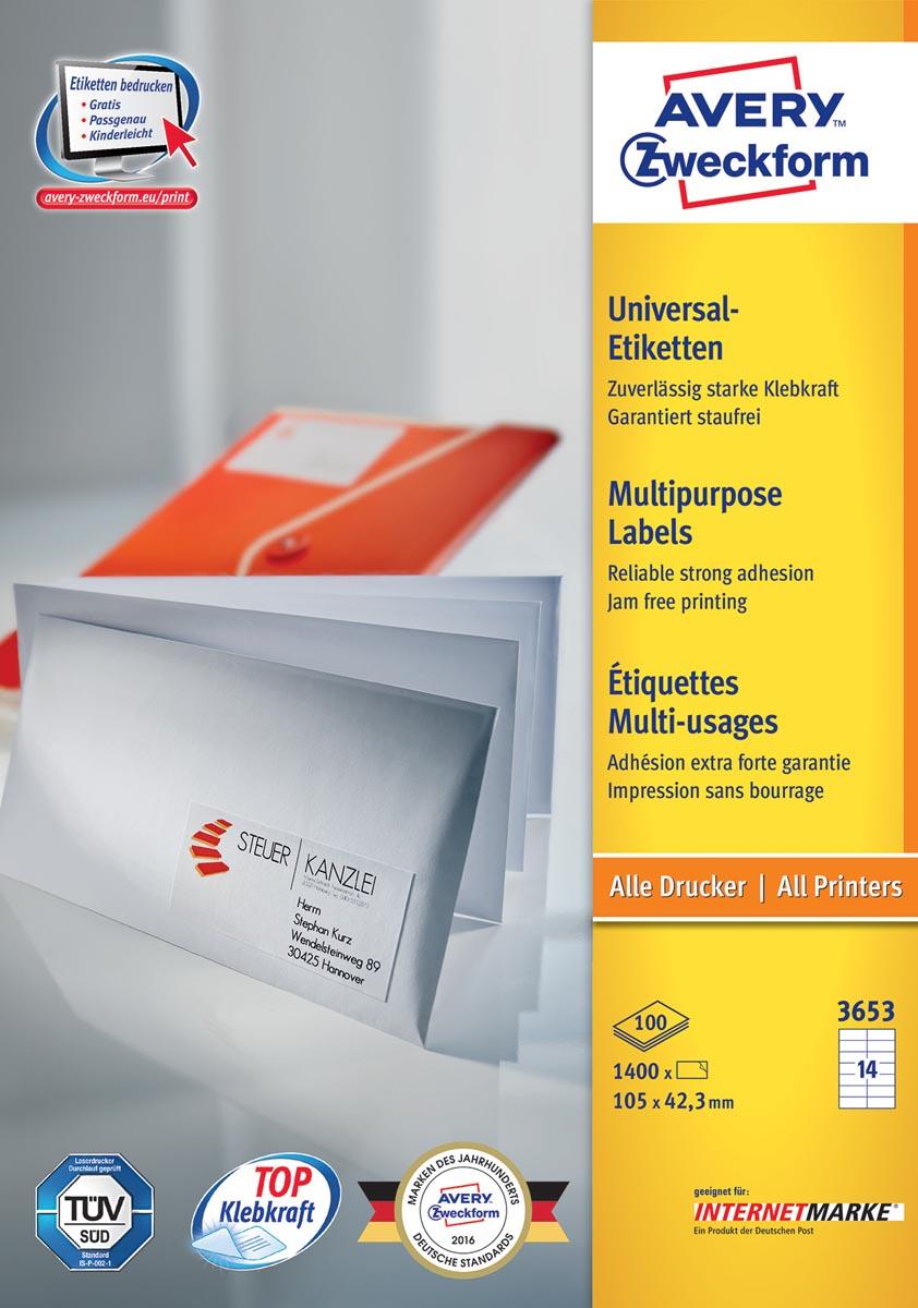 Avery Zweckform 3653, Universele etiketten, Ultragrip, wit, 100 vel, 14 per vel, 105 x 42,3 mm