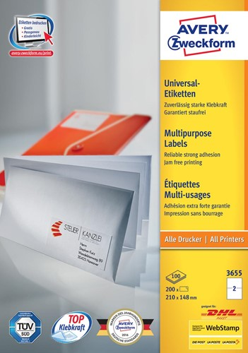 Avery Zweckform 3655, Universele etiketten, Ultragrip, wit, 100 vellen, 2 per vel, 210 x 148 mm