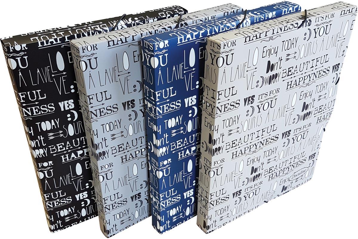 Bronyl elastobox Quotes ft A4, rug van 2,5 cm, uit PP, geassorteerde kleuren