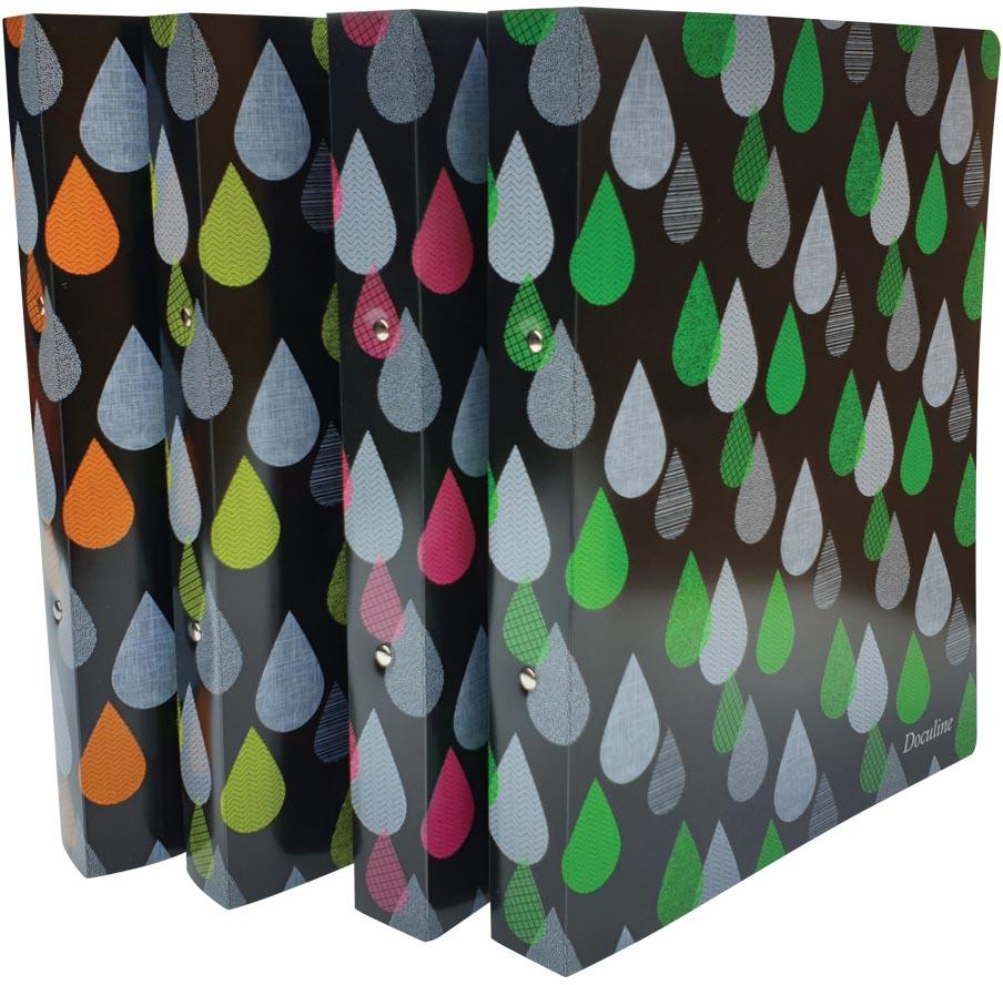 Bronyl ringmap Drops, voor ft A4, uit PP, ringen van 25 mm, geassorteerde kleuren