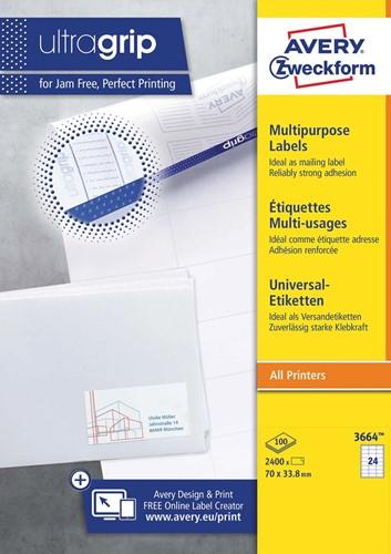Avery Zweckform 3664, Universele etiketten, Ultragrip, wit, 100 vellen, 24 per vel, 70 x 33,8 mm