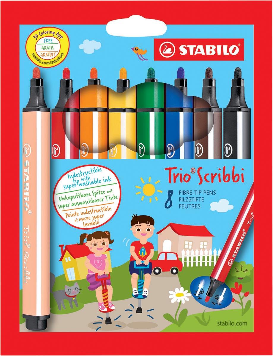 STABILO Trio Scribbi viltstift, blister van 8 stuks in geassorteerde kleuren