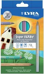Lyra Super Ferby kleurpotloden, kartonnen etui met 12 stuks in geassorteerde metallic kleuren