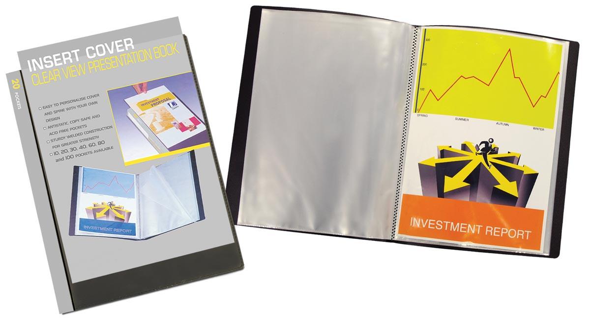 Beautone personaliseerbaar showalbum, A4, 20 tassen, zwart