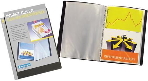 Beautone personaliseerbaar showalbum, A4, 100 tassen, zwart