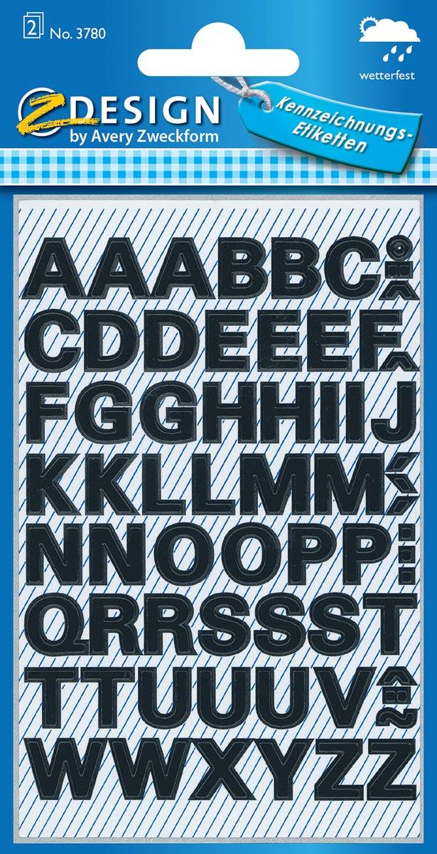 Avery Etiketten, letters A-Z, 2 blad, zwart, waterbestendige folie