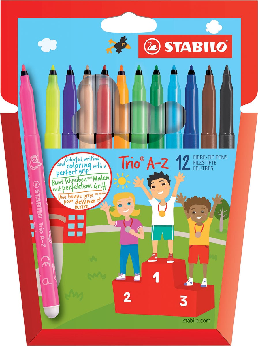 STABILO Trio A-Z viltstift, etui van 12 stuks in geassorteerde kleuren