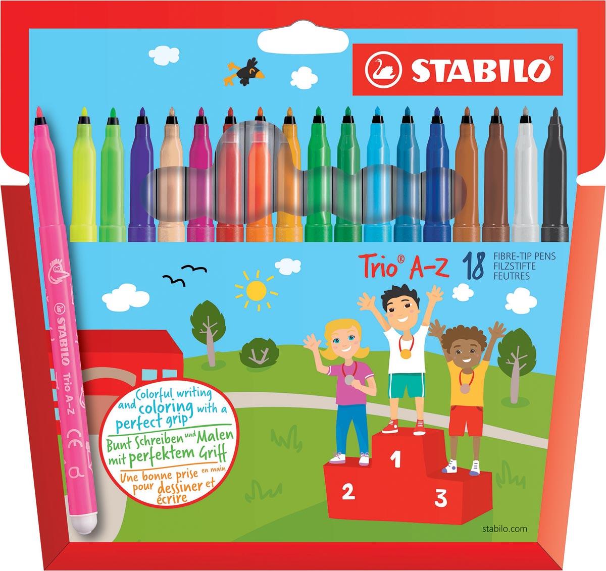 STABILO Trio A-Z viltstift, etui van 18 stuks in geassorteerde kleuren