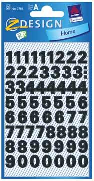 Avery Etiketten cijfers en letters 0-9, 2 blad, zwart, waterbestendige folie