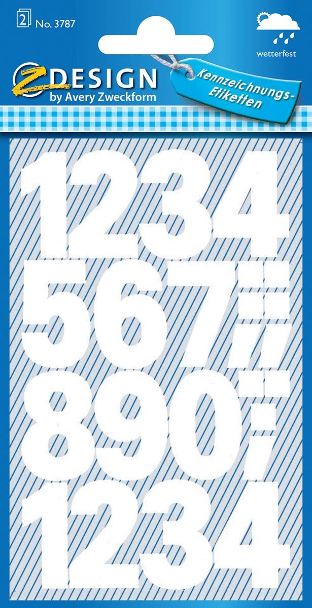 Avery Etiketten cijfers en letters 0-9 groot, 2 blad, wit, waterbestendige folie
