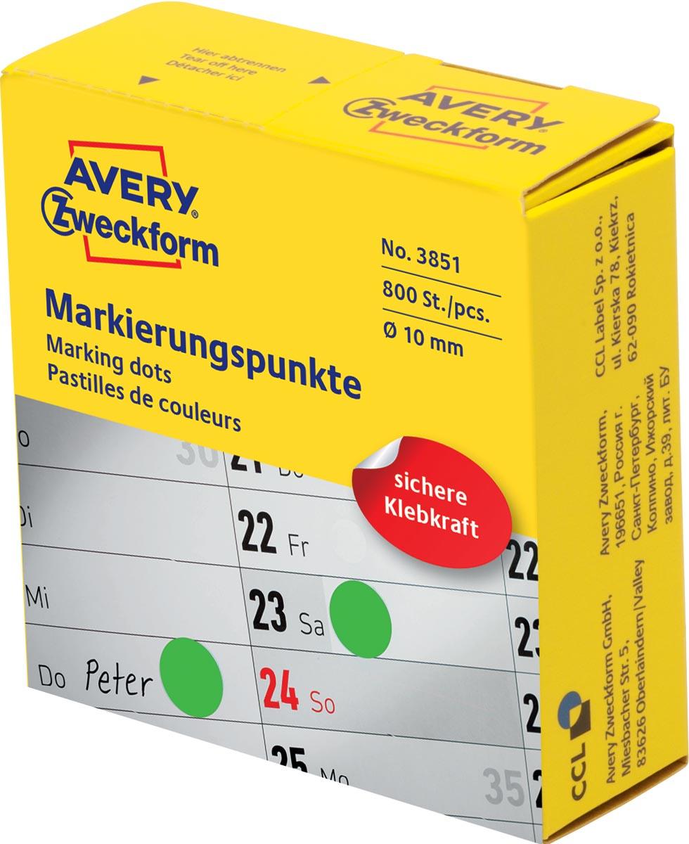 Avery marking dots, diameter 10 mm, rol met 800 stuks, groen