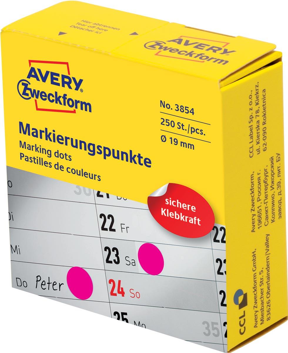Avery marking dots, diameter 19 mm, rol met 250 stuks, rood