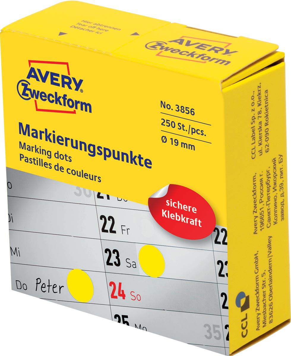 Avery marking dots, diameter 19 mm, rol met 250 stuks, geel