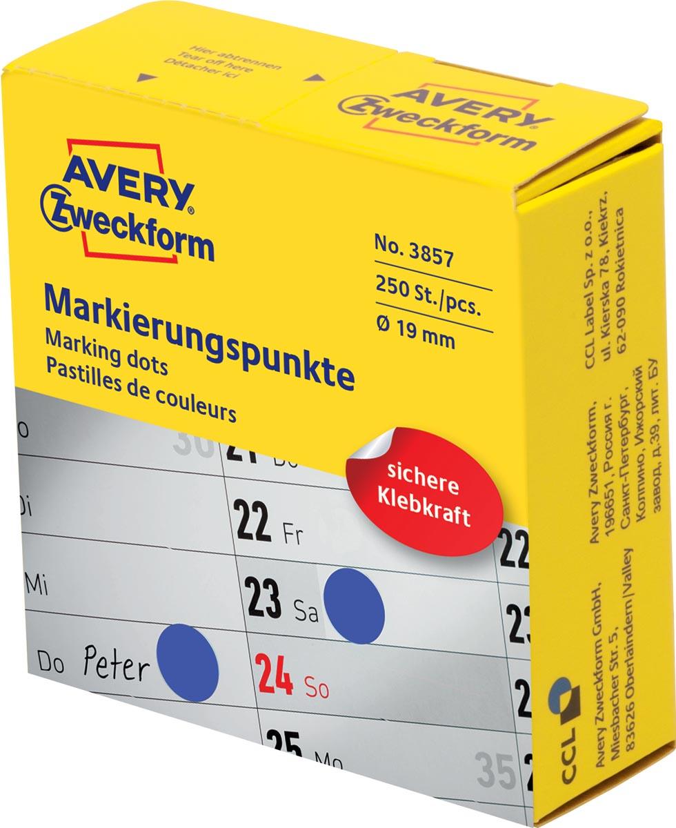 Avery marking dots, diameter 19 mm, rol met 250 stuks, blauw