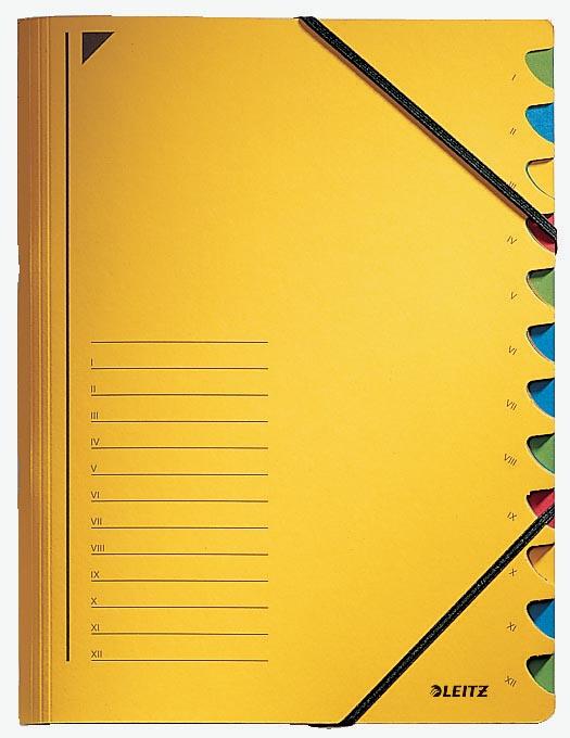 Leitz bureau sorteermap, karton, ft A4, 12 tabs, geel