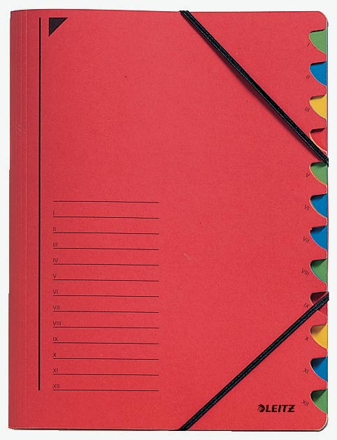 Leitz bureau sorteermap, karton, ft A4, 12 tabs, rood