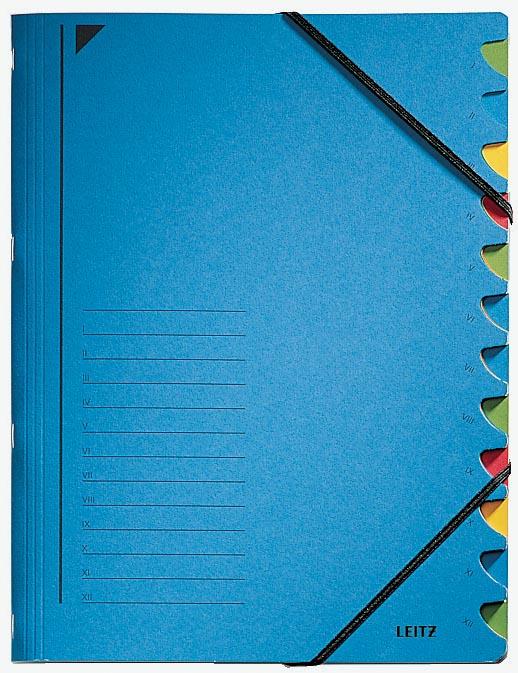 Leitz bureau sorteermap, karton, ft A4, 12 tabs, blauw