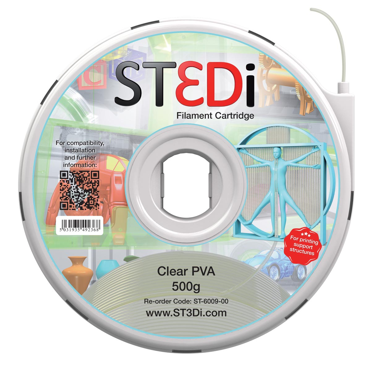 St3di cartridge pva 500g naturel voor st3di printer model smart pro 280