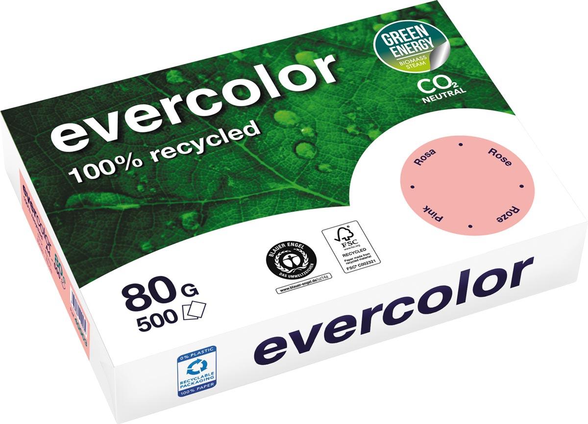 Clairefontaine Evercolor gekleurd gerecycleerd papier, A4, 80 g, 500 vel, roze