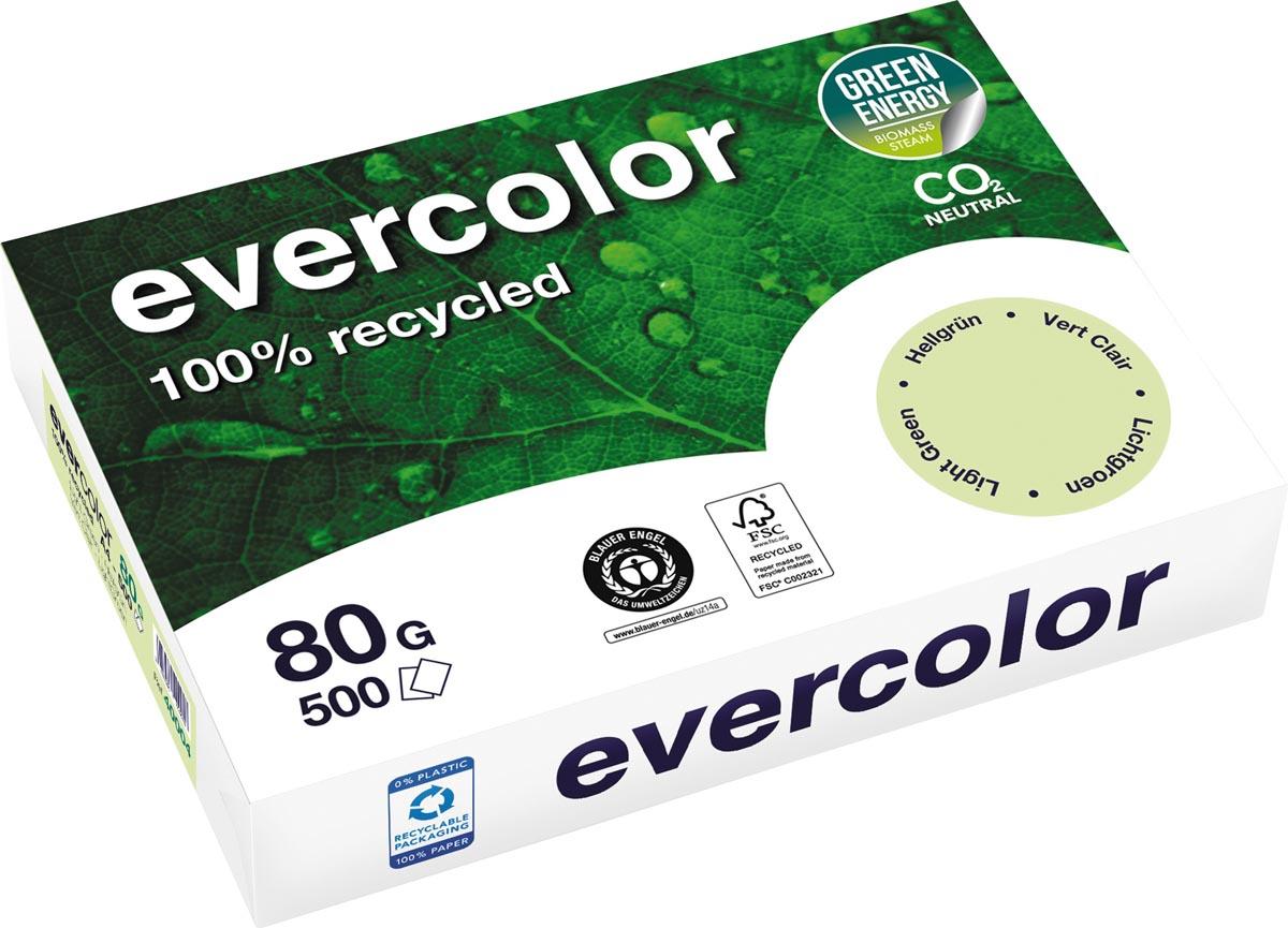 Clairefontaine Evercolor gekleurd gerecycleerd papier, A4, 80 g, 500 vel, lichtgroen