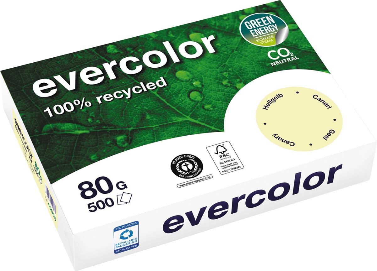 Clairefontaine Evercolor gekleurd gerecycleerd papier, A4, 80 g, 500 vel, geel