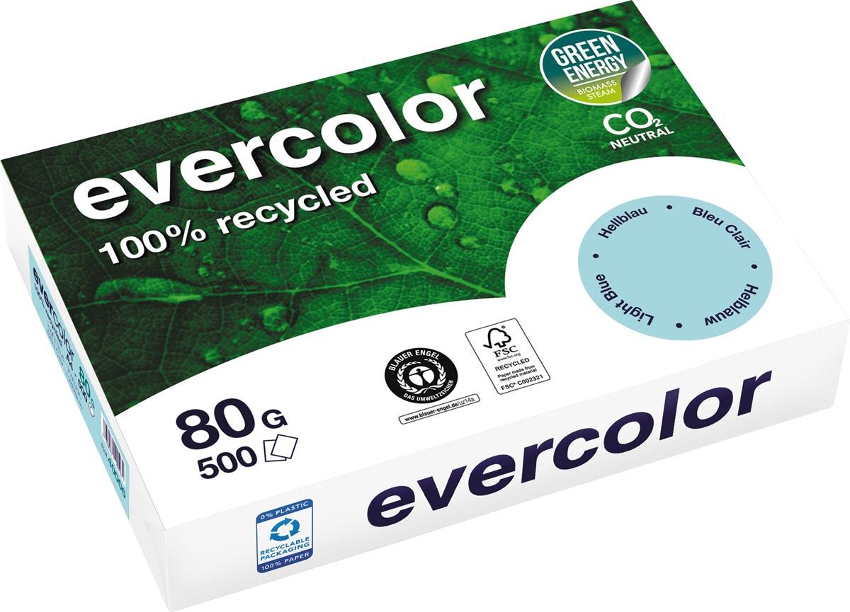 Clairefontaine Evercolor gekleurd gerecycleerd papier, A4, 80 g, 500 vel, helblauw