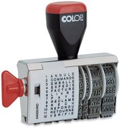 Colop tekststempel met datum woorden: annulé, commandé, emballé, expédié, facturé, livré, payé, réclam...