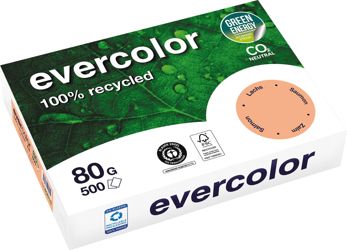 Clairefontaine Evercolor gekleurd gerecycleerd papier, A4, 80 g, 500 vel, zalm
