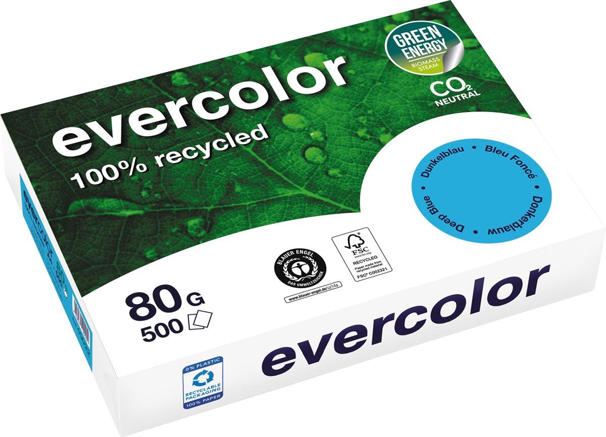 Clairefontaine Evercolor gekleurd gerecycleerd papier, A4, 80 g, 500 vel, donkerblauw