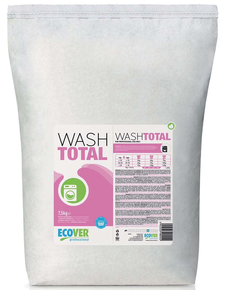 Ecover ecopro wash total universeel waspoeder 7,5 kg