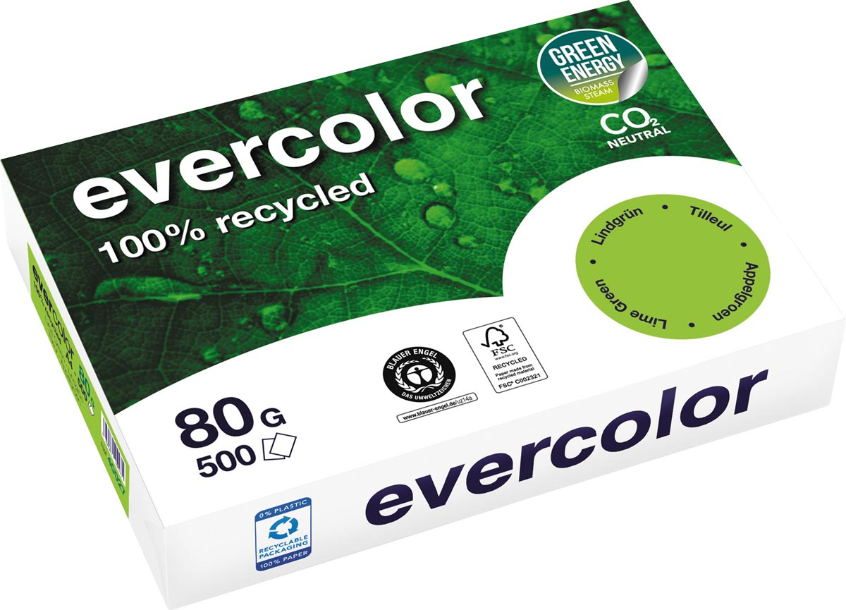 Clairefontaine Evercolor gekleurd gerecycleerd papier, A4, 80 g, 500 vel, appelgroen