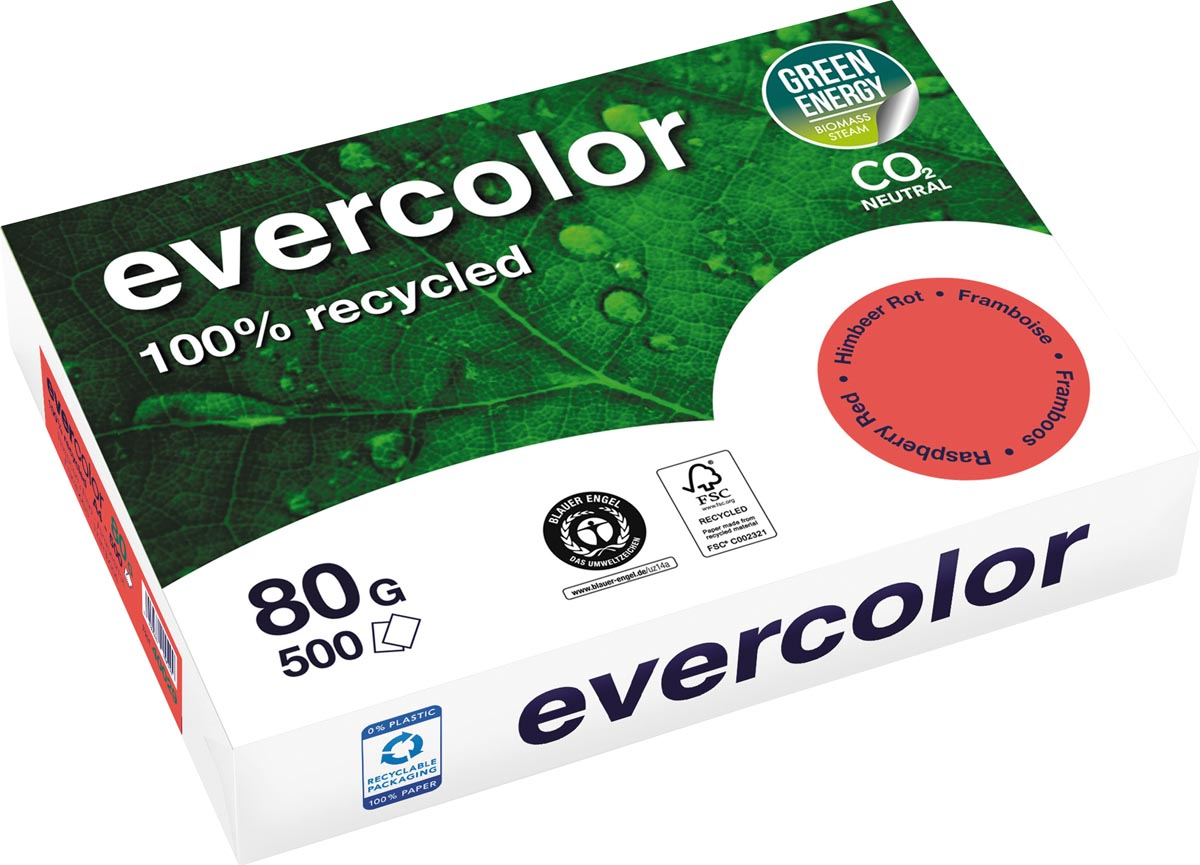 Clairefontaine Evercolor gekleurd gerecycleerd papier, A4, 80 g, 500 vel, framboos