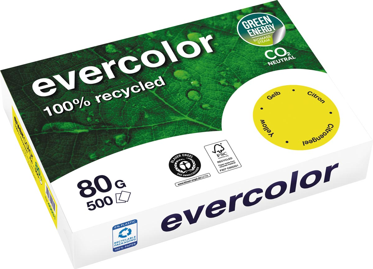 Clairefontaine Evercolor gekleurd gerecycleerd papier, A4, 80 g, 500 vel, citroengeel