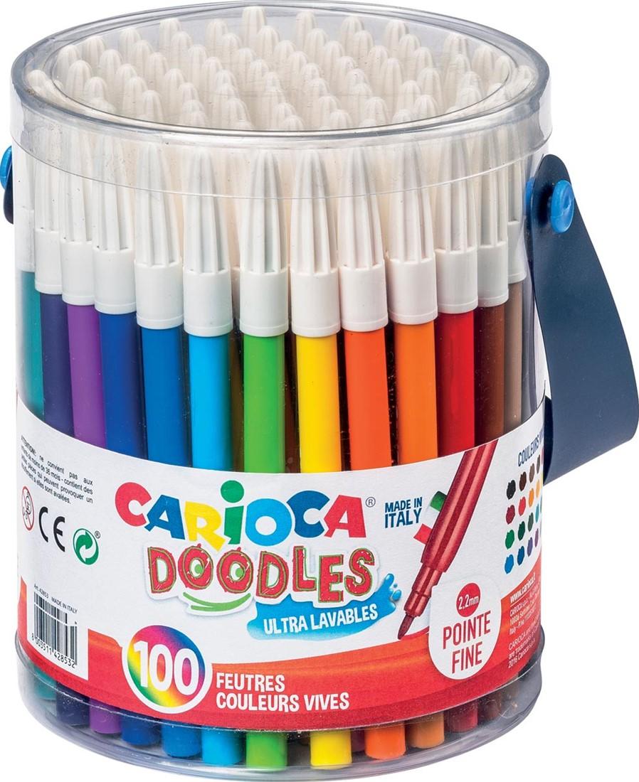Carioca Feutre De Coloriage Doodles 100 Feutres Dans Un Pot Plastique Bij Vindiq Office