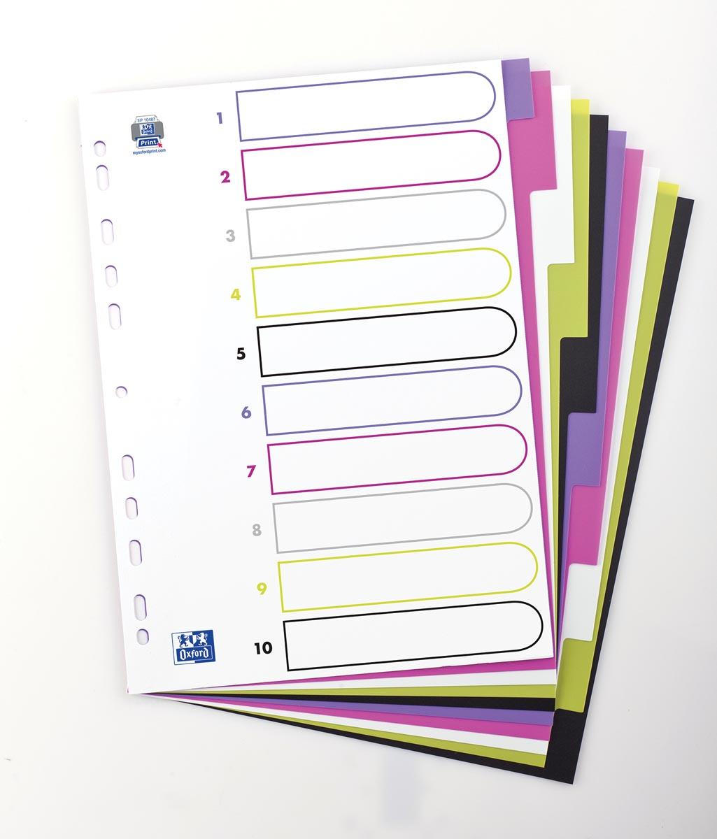 OXFORD MyColour tabbladen, formaat A4, uit gekleurde PP, 11-gaatsperforatie, 10 tabs