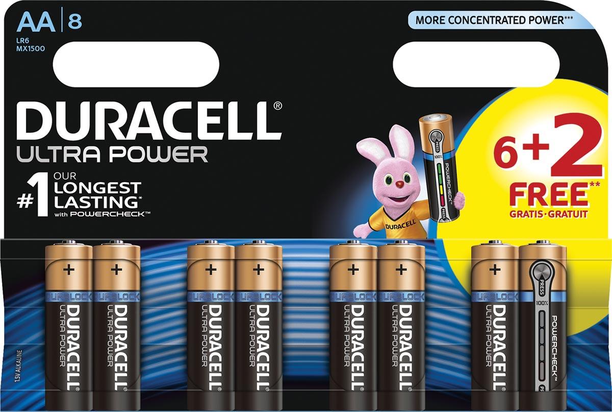 Duracell batterijen Ultra Power AA, LR6, 6+2 gratis