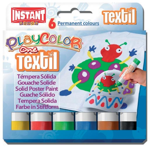 Graine Créative textielstick PlayColor One, kartonnen etui van 6 kleuren